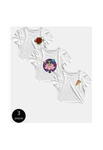 Kit Com 3 Blusinhas Cropped Blusa Tshirt Camiseta Feminina Pizza Rosas Flor Alien Et Branca Branco