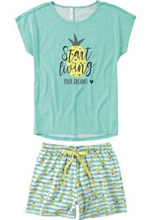 Pijama Curto Estampado Abacaxis Feminino Malwee Liberta