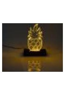 Luminária Abacaxi Acrílico Led Bivolt Cor Amarelo 23X7X2Cm