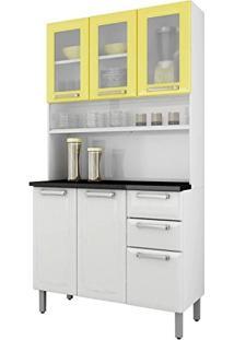 Armário Para Cozinha 3 Portas De Vidro Regina Itatiaia I3Vg2-105 Branco/Amarelo Claro