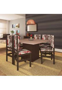 Conjunto De Mesa Com 8 Cadeiras Sirius Tabaco E Floral