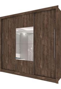 Guarda Roupa Genebra 3 Portas Com Espelho Cumaru Rústico