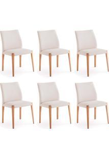Conjunto Com 6 Cadeiras De Jantar Berta Cru E Castanho