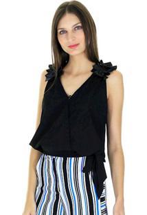Blusa Decote V Transpassado Lisa Com Botão Frontal E Faixa Na Lateral