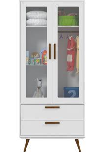 Roupeiro 2 Portas Glass Retrô Branco-Acetinado E Eco Wood Matic Móveis