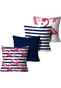 Kit 4 Capas Para Almofadas Decorativas Love Decor Flamingos Azul