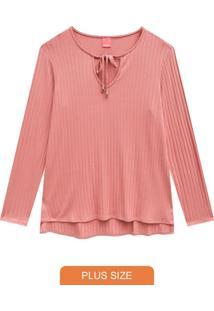 Blusa Rosa Canelada Com Abertura