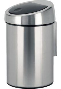 Lixeira Touch Bin- Inox & Preta- 28Xã˜18,5Cm- M.Cm.Cassab