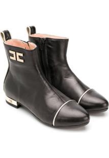 Elisabetta Franchi La Mia Bambina Ankle Boot De Couro - Preto