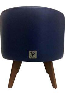 Puff Pé Palito Redondo Alce Couch Courvin Azul 40Cm
