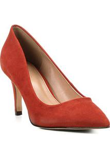 Scarpin Shoestock Nobuck Salto Médio Bico Fino - Feminino-Caramelo