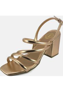Sandália Salto Grosso Tiras Delas & Elas Tiras Rosê Metalizado Multicolorido