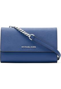 Michael Michael Kors Clutch Jet Set De Couro - Azul