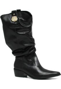 Bota Zariff Shoes Slouch Em Couro Metal Feminina - Feminino-Preto