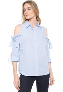Camisa Ana Hickmann Off Shoulder Listrada Azul