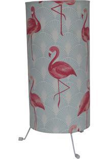 Luminária De Mesa Flamingo Azul Claro E Rosa