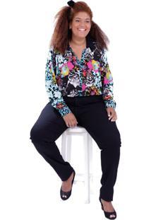 Camisa Liliana Plus Size Vickttoria Vick Plus Size Preto