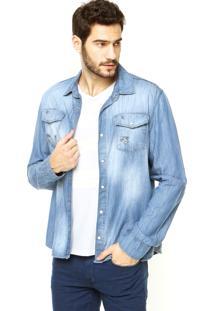 Camisa Calvin Klein Jeans Bolsos Azul