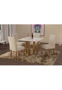 Conjunto De Mesa De Jantar Com 4 Cadeiras E Tampo De Madeira Maciça Valencia Ii Suede Creme E Off White
