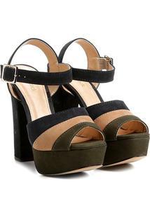 Sandália Couro Shoestock Meia Pata Mix Color Feminina - Feminino-Verde Escuro