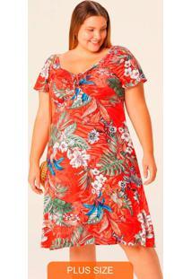 Vestido Estampado Midi Tropical Plus