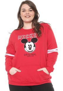 Moletom Flanelado Fechado Cativa Disney Plus Mickey Vermelho