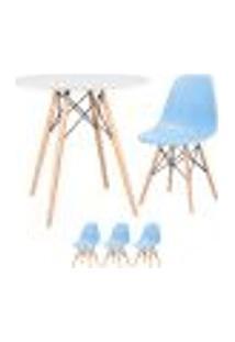 Conjunto De Mesa Eames 80 Cm Branco + 3 Cadeiras Eames Eiffel Dsw Azul Claro