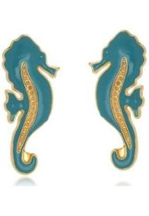 Brinco Le Diamond Cavalo Marinho Turquesa - Feminino-Azul Piscina