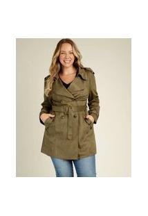 Casaco Plus Size Feminino Trench Coat Suede Marisa