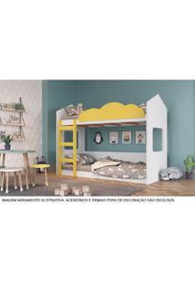 Beliche - Montessoriano - Casinha - Branco E Amarelo - Completa Móveis