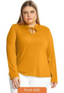 Blusa Feminina Detalhe Decote Amarelo