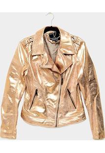 Jaqueta Queens Metalizada Feminina - Feminino-Rosa Escuro