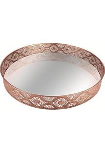 Bandeja Em Metal Com Espelho Edfu 6317 47,5X47,5Cm Cobre Mart
