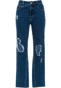 Nk Calça Jeans Com Puídos - Azul