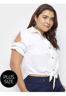 Blusa Heli Plus Size Recorte Manga Curta Amarração Feminina - Feminino-Branco