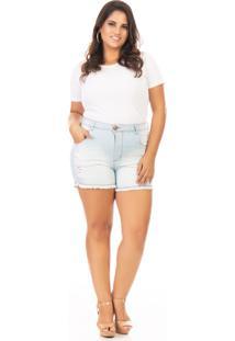 Shorts Feminino Jeans Tradicional Com Lycra Plus Size