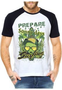 Camiseta Criativa Urbana Raglan Verão Férias Praia Surf Branca