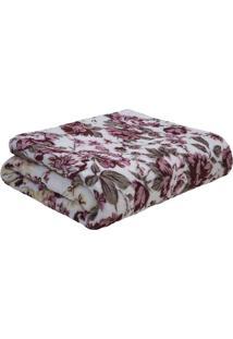 Manta Fleece Floral Queen Size- Branca & Bordã´- 220Xsultan