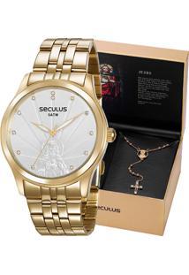 Kit Relógio Seculus Feminino Com Colar Jesus 35006Lpskda1K1