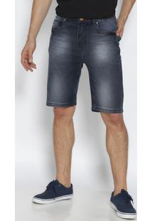 Bermuda Jeans Estonada Com Tag- Azul Escuro- Leelee