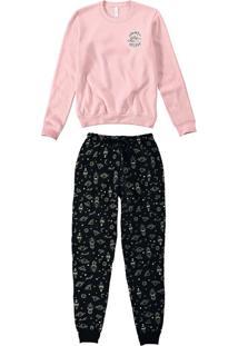Pijama Longo Estampa Que Brilha Feminino - Rosa Claro - G