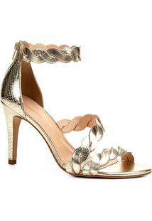 Sandália Couro Shoestock Salto Alto Snake Ondas Feminina - Feminino-Dourado