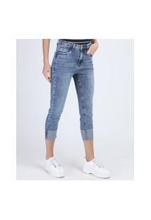 Calça Jeans Feminina Skinny Cropped Cintura Alta Com Barra Dobrada Azul Claro