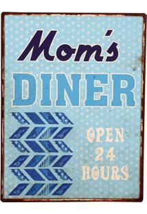 Placa De Metal Decorativa Vintage Mom´S Diner