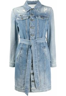 Givenchy Chemise Jeans Com Destroyed - Azul