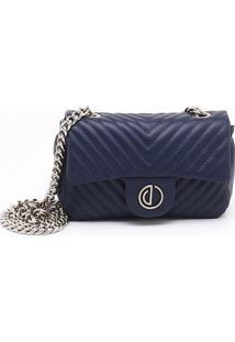 Bolsa Shoulder Bag Couro Matelassê Azul Eclipse - P