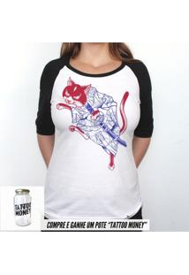Gato Samurai - Camiseta Raglan Manga Longa Feminina