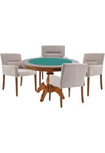 Mesa De Jogos Carteado Redonda Montreal Tampo Reversível Amêndoa Com 4 Cadeiras Vicenza Nude - Gran Belo