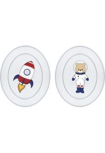 Quadros Carambola Ursinho Astronauta Branco