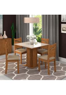 Conjunto De Mesa De Jantar Sophia Com Vidro E 4 Cadeiras Melissa Suede Off White E Marfim